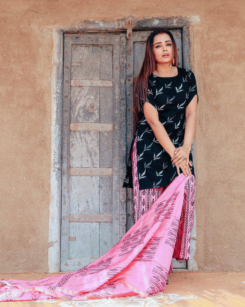 Ink Black Handblock Print Suit Set With Kota Doriya Dupatta