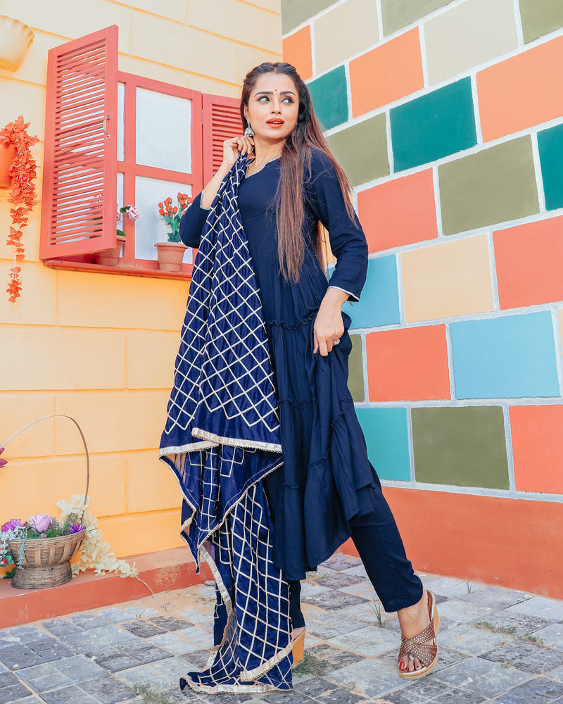 Egyptian Blue Suit Set With Gotta Jaal Dupatta