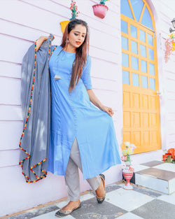 Baby Blue Kurta Set With dupatta