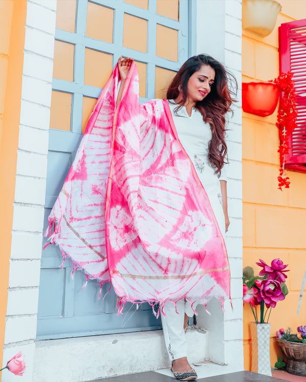 White Rose Handblock Suit Set With Pink Dupatta