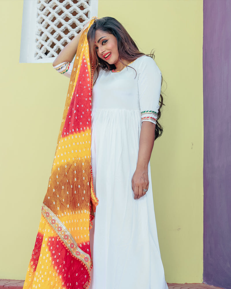 Ivory Suit Set With Muti Coloured Bandej Dupatta