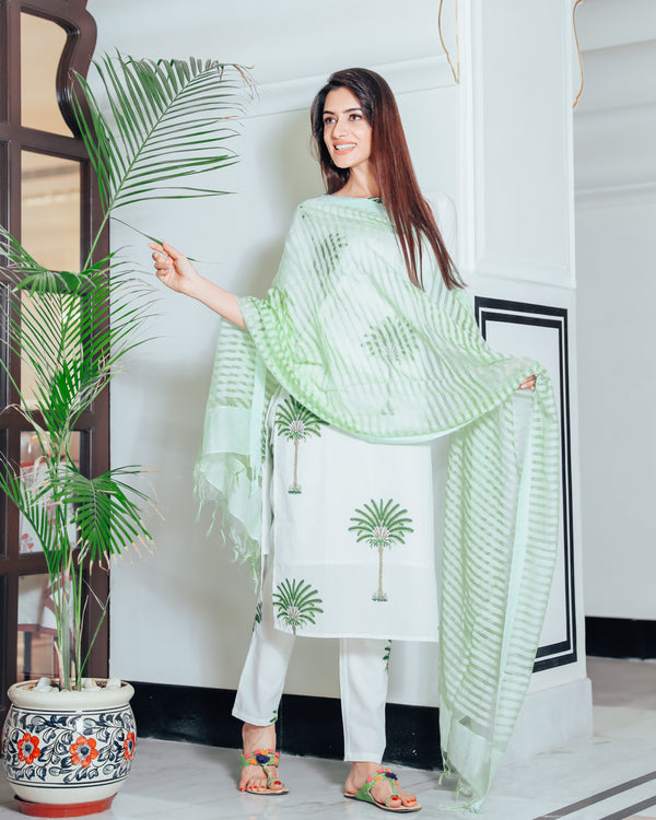 Sage green tree print suit set