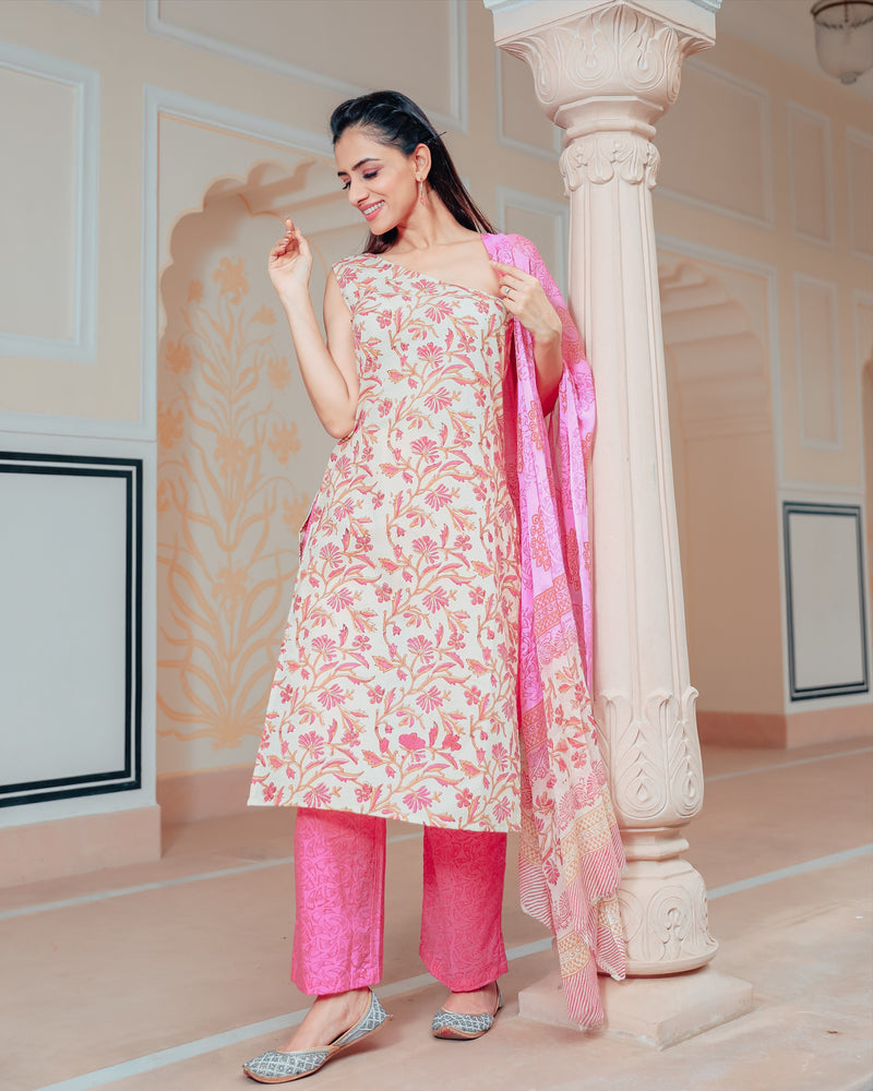 Light yellow suit with pink floral pattern