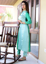 Exclusive beautiful green two tone suit set