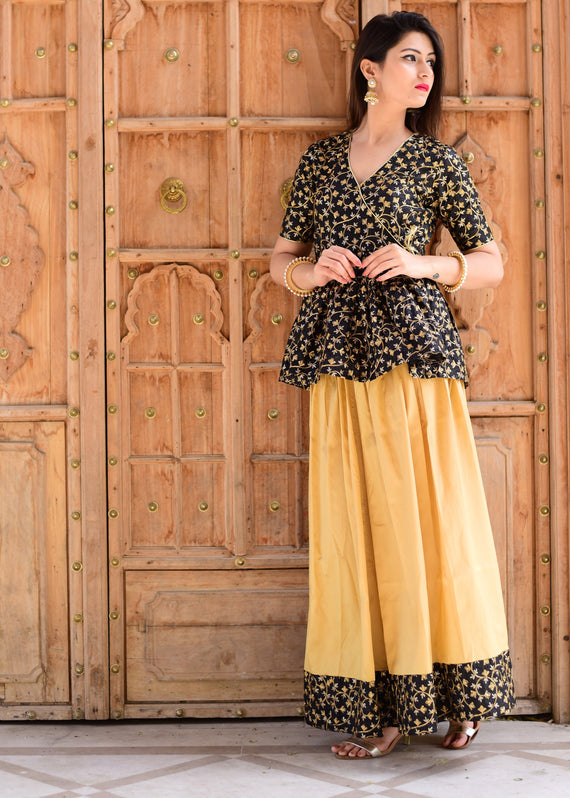 Exclusive beautiful black and golden top & skirt