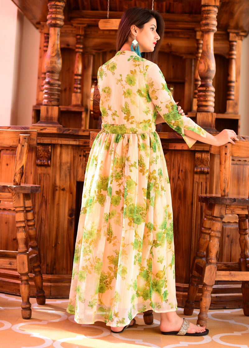 Exclusive green floral maxi dress