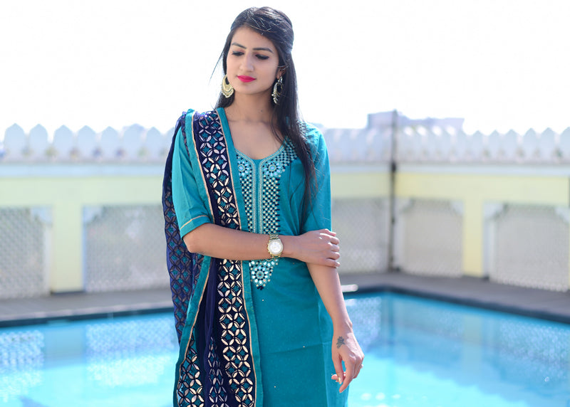 Exclusive Beautiful Blue suit set with pure dupatta