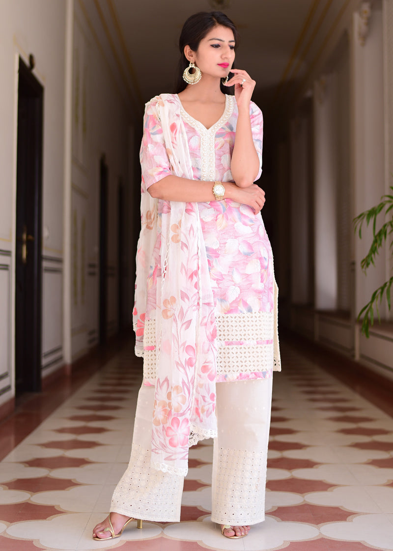 Exclusive Beautiful pink suit set with pure dupatta