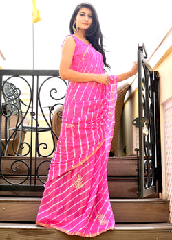 Beautiful pink lahariya saree
