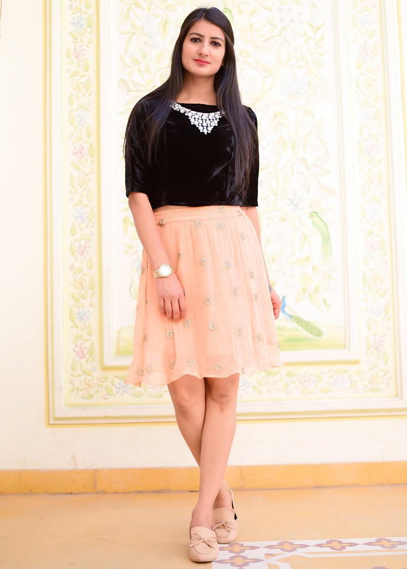 Beautiful exclusive black top with peach skirt