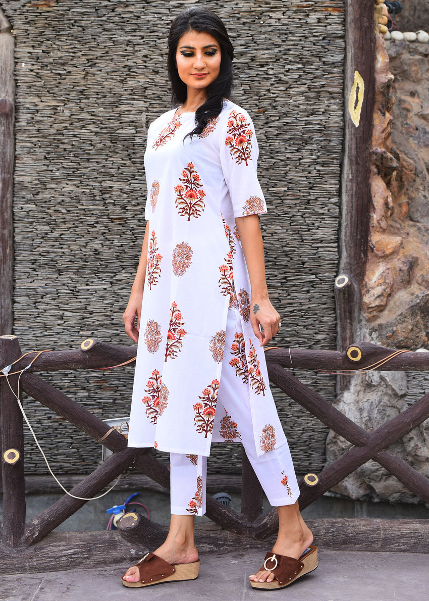Beautiful white block print coordinated suit