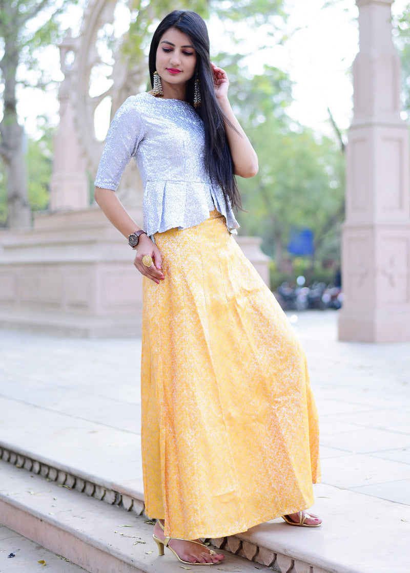 Beautiful silver yellow top skirt