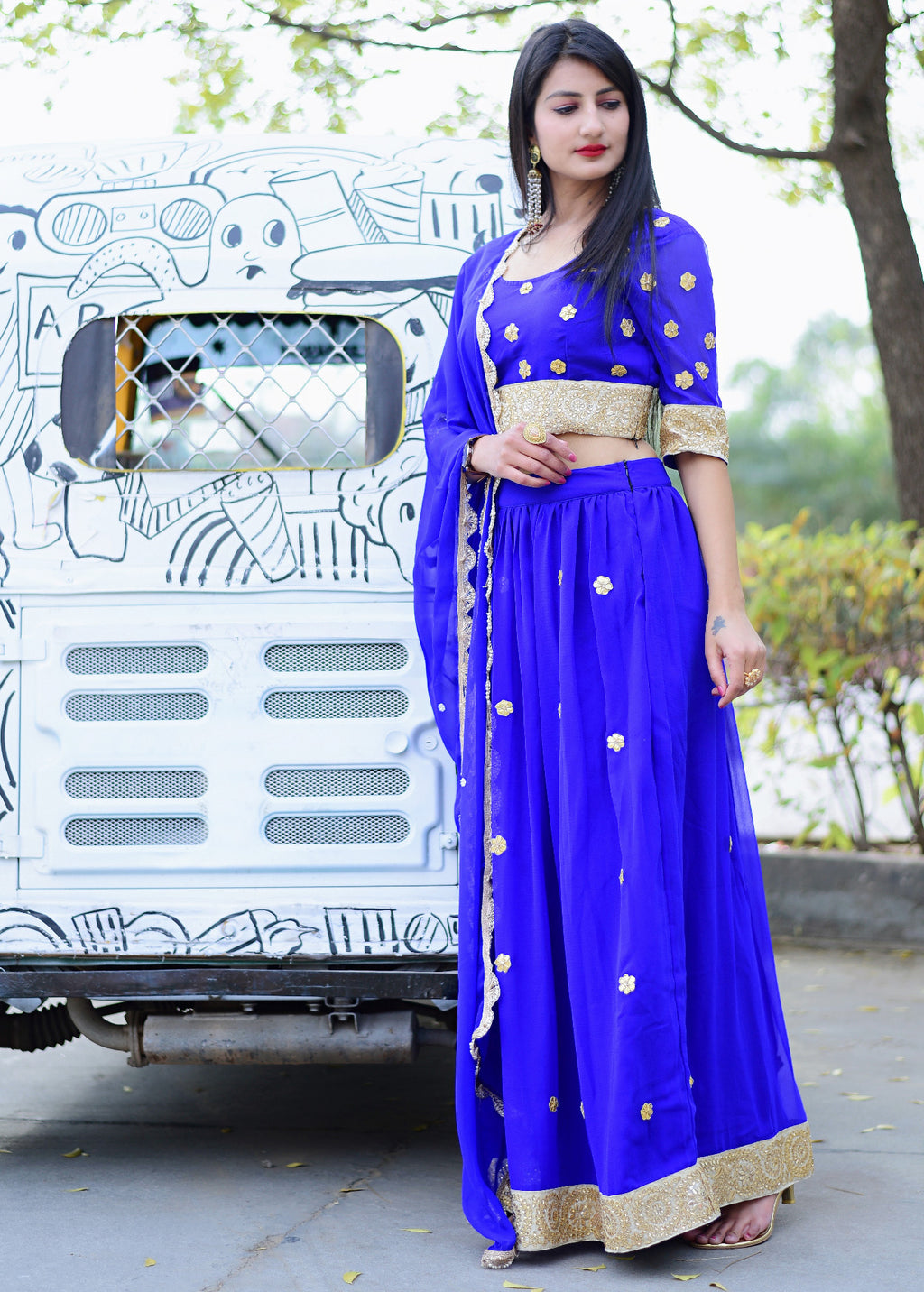 Beautiful blue lehenga dress