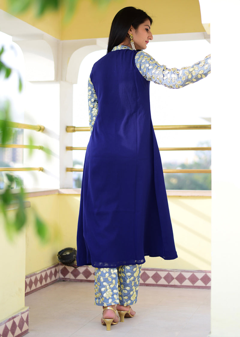 Exclusive navy blue suit set