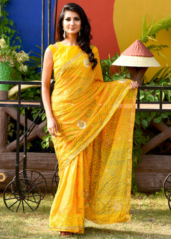 Beautiful yellow bandhej saree