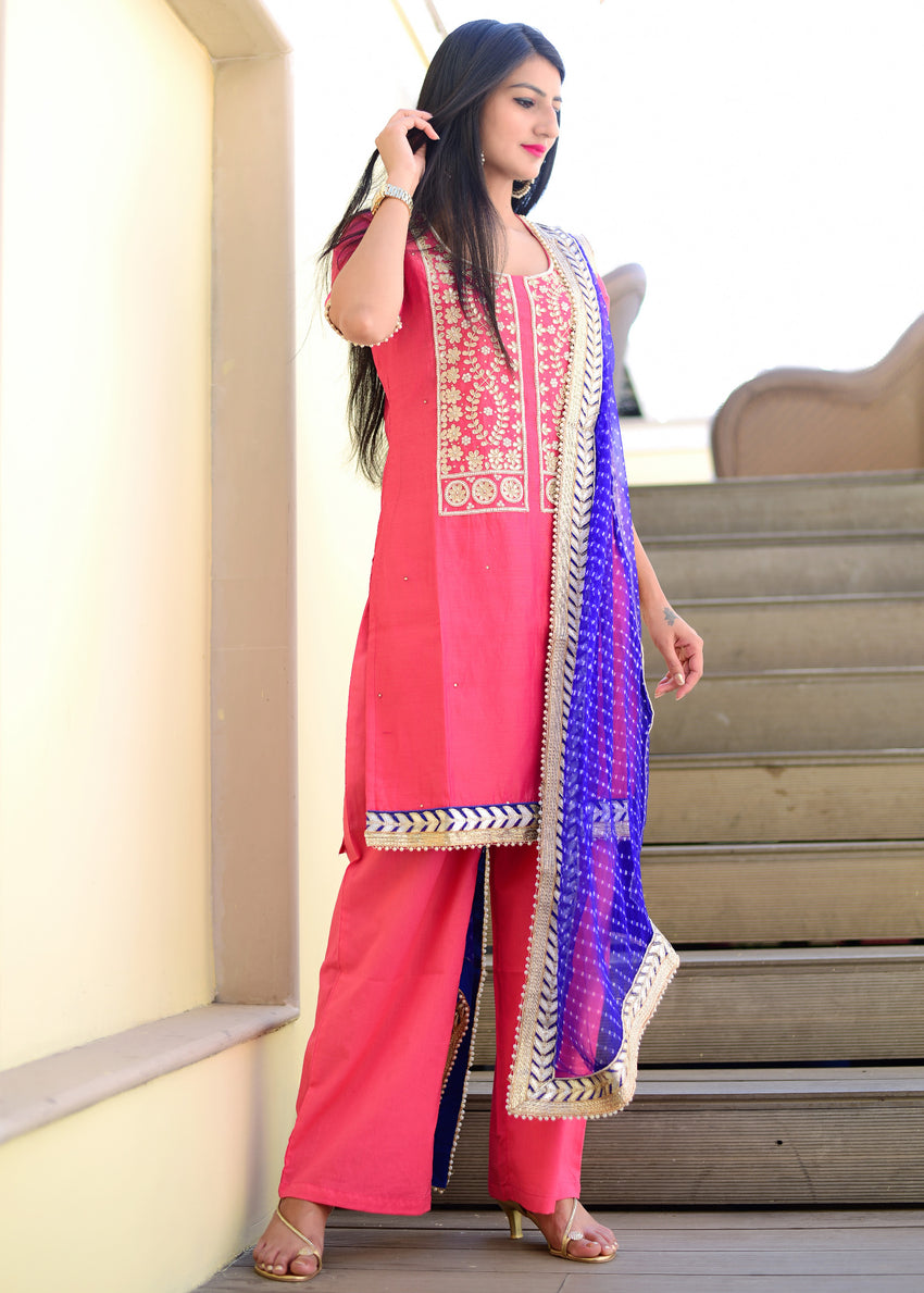 Exclusive pink suit set with pure dupatta