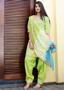 Exclusive green suit set with pure dupatta