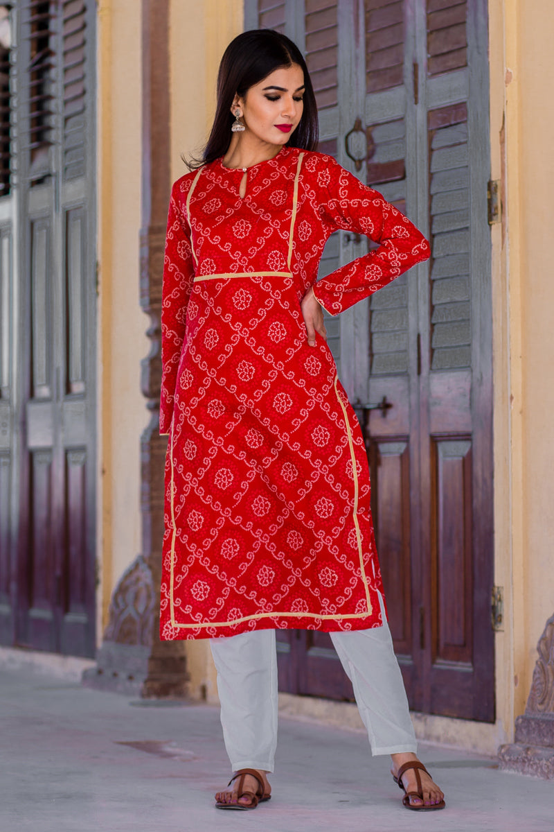 Summer Red Bandhani kurta Set