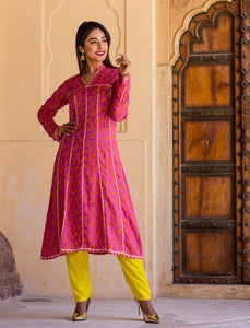 Beautiful Pink matallic Kurta Set With Sikihiya Gotta Work