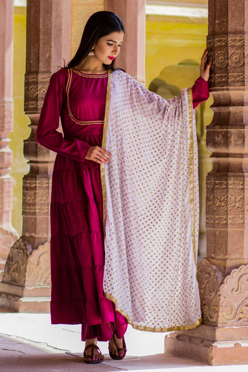 Beautiful Purple Long Gown With White Golden Dupatta