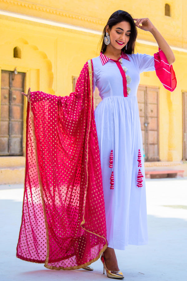 Nadiya White Kurta Set With Pink Dupatta