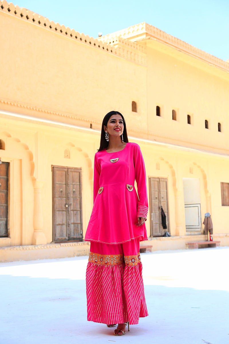 Fuchsia Pink Gotta Work sharara Set With white Dupatta