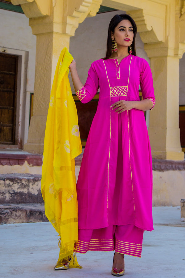 Ruby Pink Designer Long Kurti Set With Yellow Dupatta