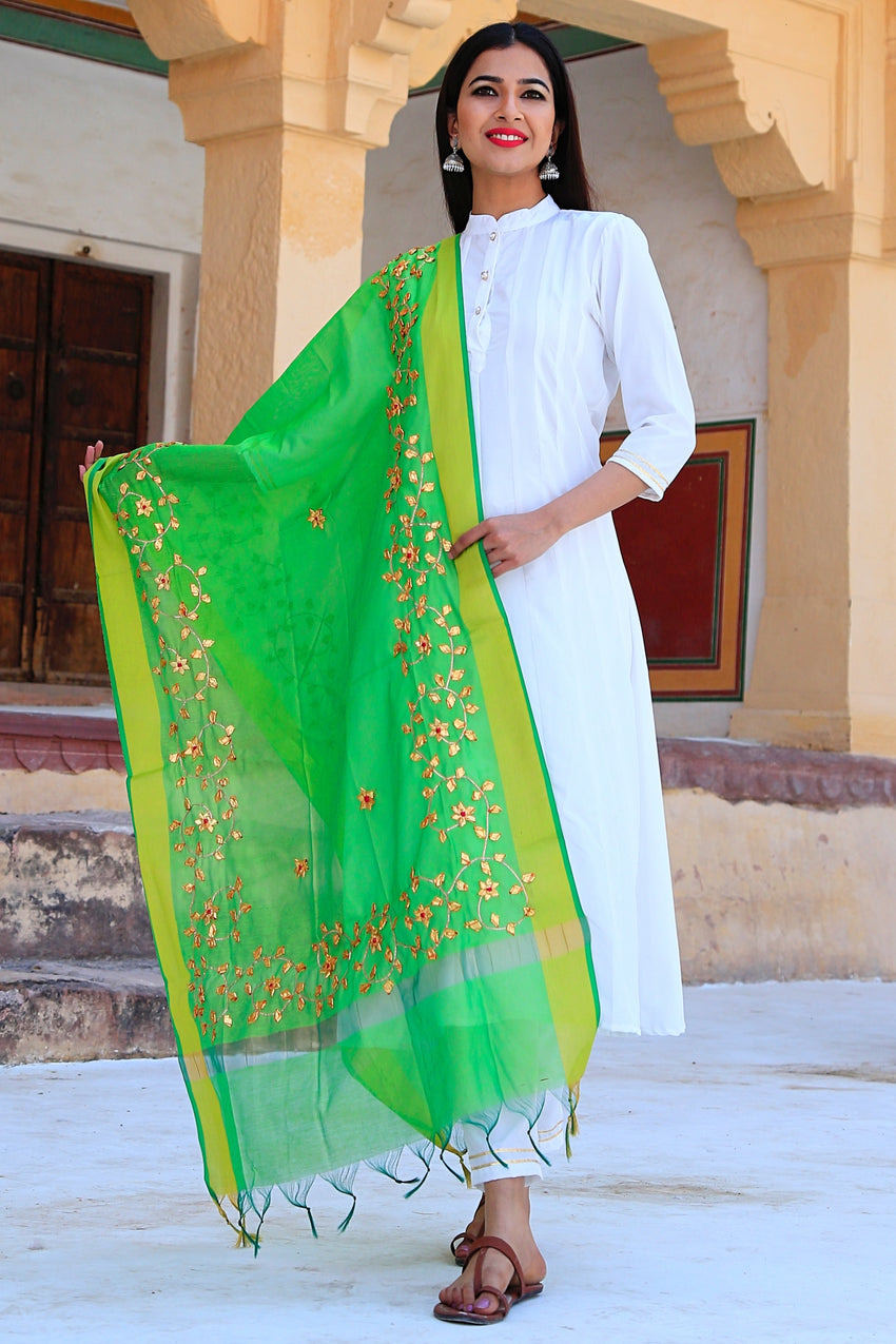 Pearl White Suit Set With Green Gotta Work Dupatta