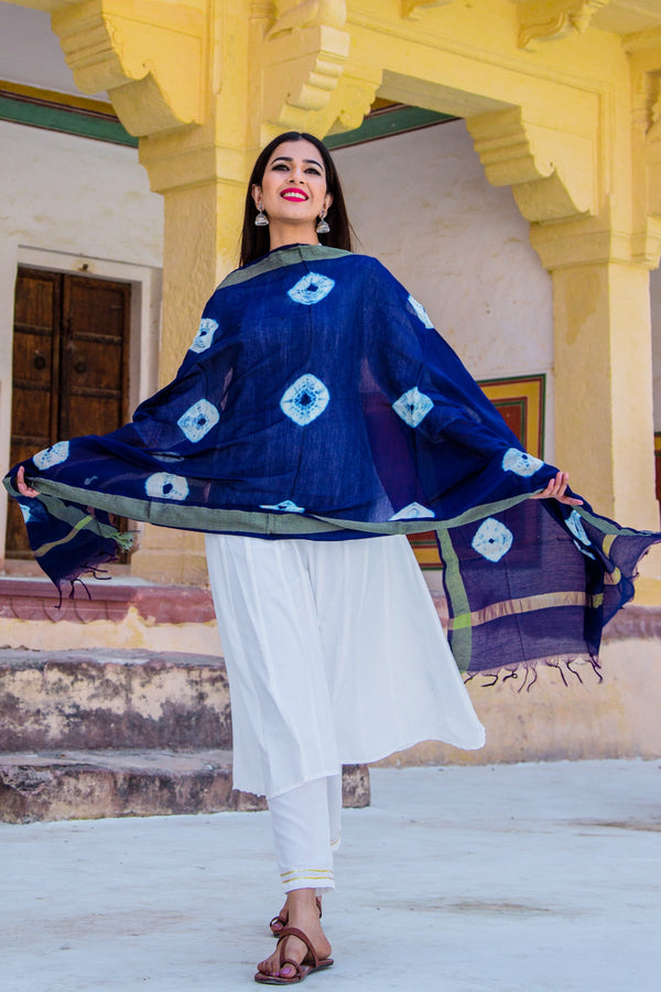 Pearl White Suit Set with Indigo Bandej Dupatta