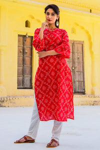 Candy Red Bandhni Kurta Set