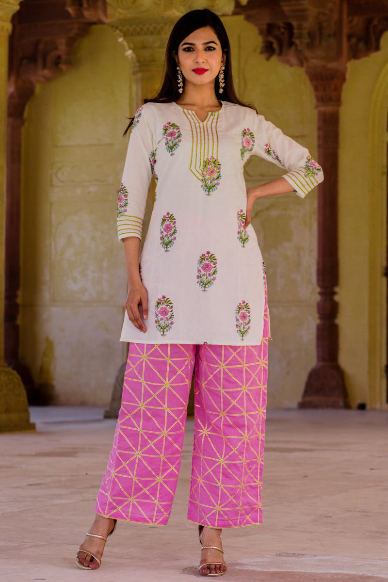 Blush Pink Kurta Set With pink Dupatta