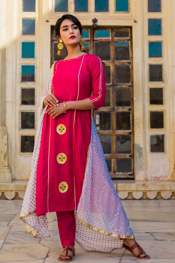 Hot Pink Gotta Work Suit set With white Dupatta