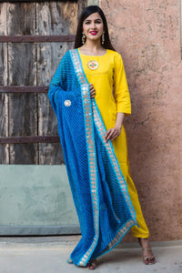 Yellow Honey Kurta Set With Lehariya Dupatta