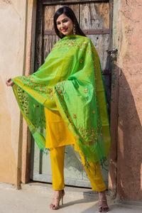Canary Yellow Suit Set With Green Gotta Work Dupatta