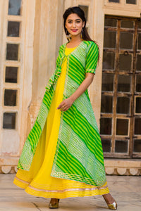 Lime kurti With Green Lehariya Jacket