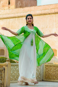 White kurti With Green Lehariya Jacket