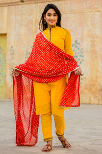 Bright Yellow Kurta Set With Red Dupatta