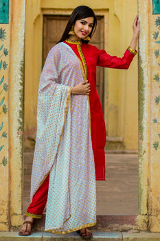 Beautiful Red Kurta Set With Red Dupatta