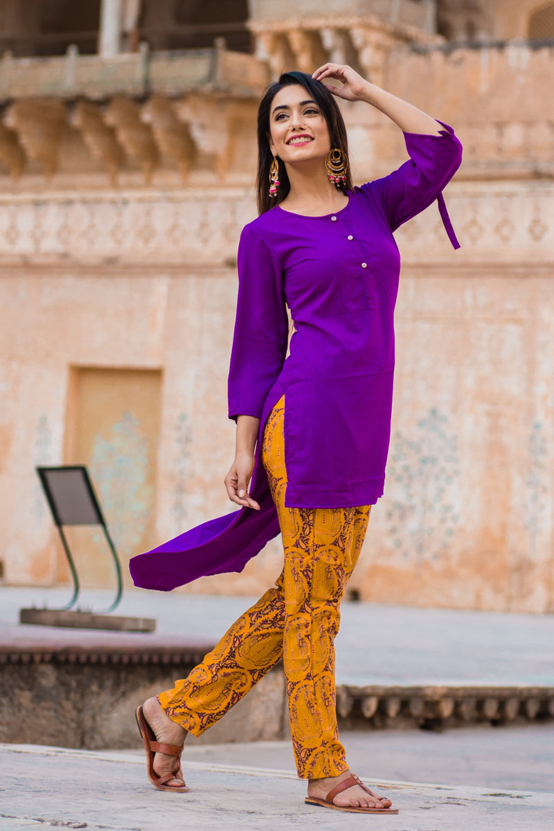 Liliac Purple Short Kurta & Pant