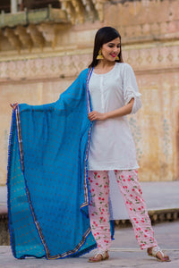 Cherry White Short Kurta & Pant Set