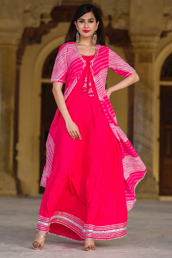 Beautiful Pink long Kurti With Lehariya Jacket