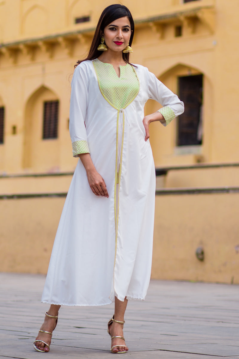 Daisy White & Cream Front Open Maxi Dress