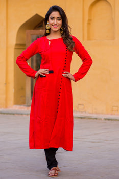 Candy Red Kurta Set