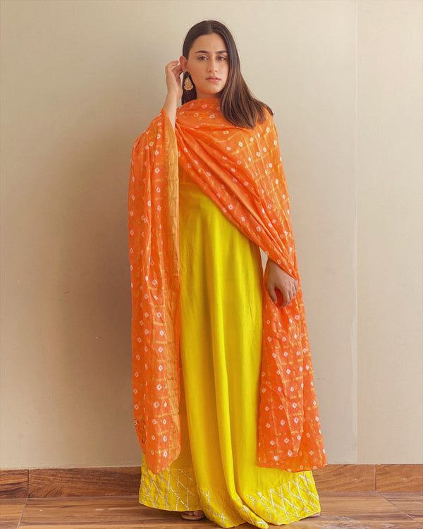 Shiny Yellow Maxi Dress With Dupatta