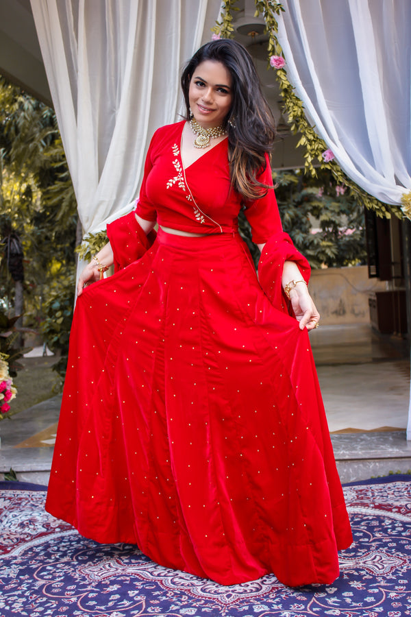 Rose Red Handwork Lehenga Set