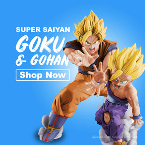 super saiyan son goku and son gohan kamekameha pose figure statue