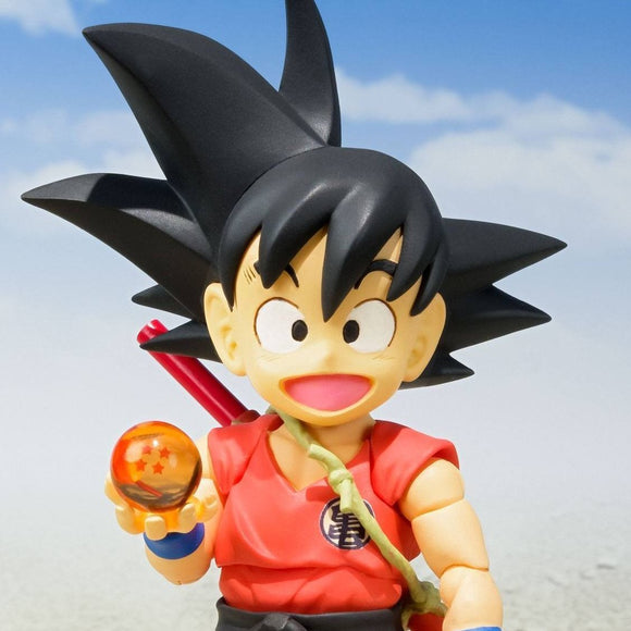 Dragon Ball Kid Goku S.H.Figuarts Action Figure by Bandai - front holding dragon ball shot