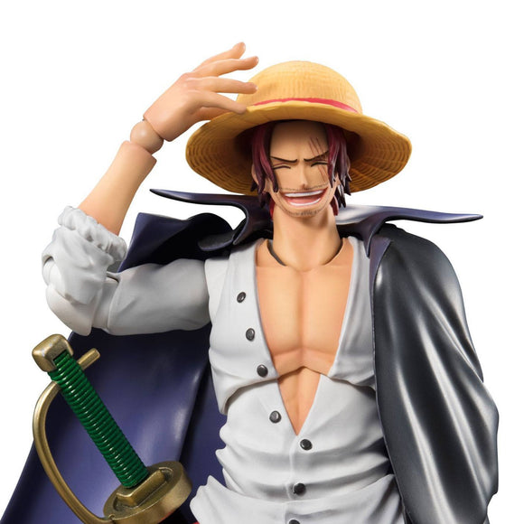 One Piece Red-Haired Shanks Variable Action Figure by MegaHouse - front upper body shot with straw hat