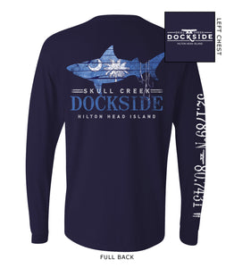 Dockside Wood Shark Cooling Performance Long Sleeve- Navy