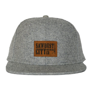 Light Grey wool hat with Sawdust City logo.